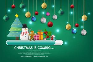 Banner de venta de Navidad sobre fondo verde. envía un mensaje de texto a la tienda de feliz navidad ahora. vector