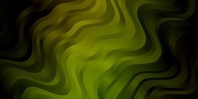 plantilla de vector verde oscuro con líneas curvas.