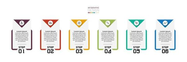 Square shaped infographic design step set vector