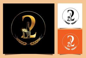 Gold Glass and Bottle Beer Numeric 2 vector