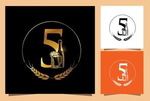 Gold Glass and Bottle Beer Numeric 5 vector
