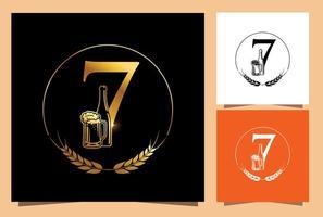 vaso de oro y botella de cerveza numérico 7 vector