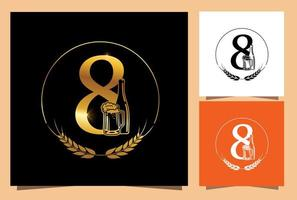 Gold Glass and Bottle Beer Numeric 8 vector