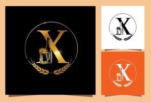 vaso y botella de oro cerveza monograma letra x vector