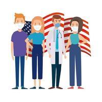 USA flag and social distance campaign
