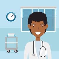 trabajador de salud en una habitación de hospital vector