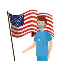 bandera de estados unidos y campaña de prevención del coronavirus vector