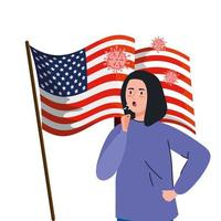 USA flag with young woman sick of Covid-19