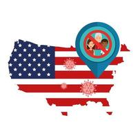 Map of USA and coronavirus prevention campaign