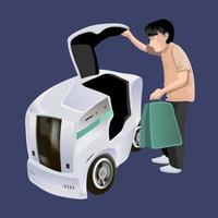 Modern robots delivery methods. Man loading bag to robot self drive fast delivery goods in city. Technological shipment innovation concept. Modern vector illustration. Isolated