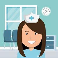 Happy nurse in the hospital vector