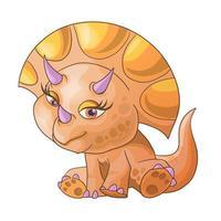 lindo dinosaurio sentado. triceratops. Ilustración de vector de personaje de dibujos animados. se puede utilizar para tarjetas de felicitación de diseño de impresión utilizadas para diseño de impresión, pancartas, carteles, folletos