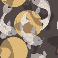 Seamless pattern with carp koi fish and sun, traditional japanese art vector