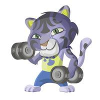 Cute leopard goes in for sports and lifts dumbbells. Cartoon character vector illustration isolated on white background