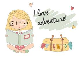 Young girl with glasses reading a book, packed suitcase vector