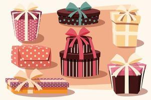 colección de coloridas cajas de regalo con lazos y cintas