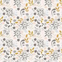 Seamless pattern design with little flowers, floral elements, birds vector