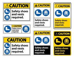 Safety Shoes And Vest Required With PPE Symbols vector