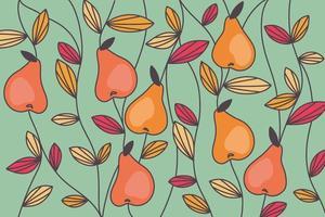 peras abstractas y patrón de hojas de colores vector