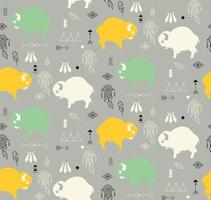 Seamless pattern with cute baby buffaloes and native American symbols vector
