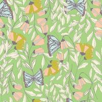 vector patrón transparente tradicional con mariposas monarca, elementos florales y flores de primavera