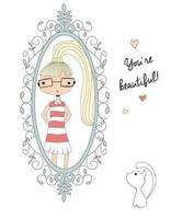 Young girl looking at the mirror with a cat, you're beautiful message vector