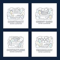 conjunto de diseño de tarjeta de crédito sin contacto