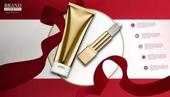 plantilla de anuncios cosméticos dorados
