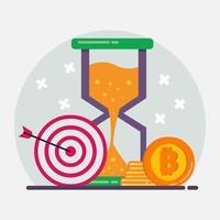 Ilustración de símbolo de concepto de inversión en criptomonedas en estilo plano