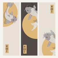 Three vertical banners with carp koi fish swimming around Sun vector