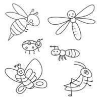 Outline insect vector set