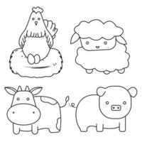 Farm animals outline set