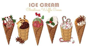 Christmas sweets theme set of different kinds of ice cream in waffle cones