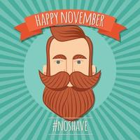 No shave November poster design, prostate cancer awareness, hipster man with beard and moustache vector