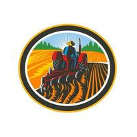 Farmer Driving Tractor Plowing Field Circle Retro vector