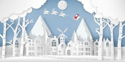 Paper cut style of Santa Claus on Sleigh and Reindeers in the snow village in the winter background as holiday and xmas day concept.