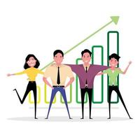 Teamwork picture features people standing next to each other showing unity with a background of arrow vector