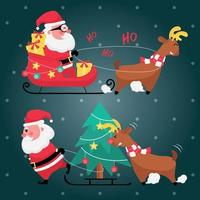Set of santa claus, reindeer and christmas tree on blue background vector