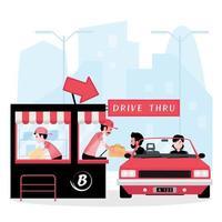 A cartoon showing drive thru business vector