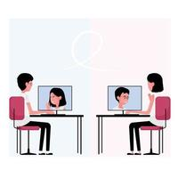 Online communication featuring a person attend meeting on computer vector
