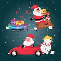 Set of santa claus with red car, reindeer, gift box, cart and snowman on blue background vector
