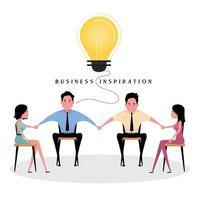 People sit and hold each hands with yellow light bulb vector