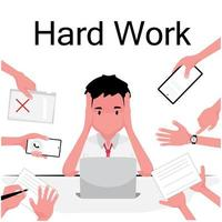 Overworked picture features a busy man sitting and working on laptop while others give him more jobs vector