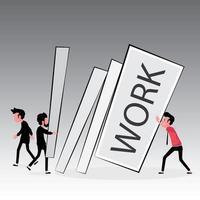 La imagen con exceso de trabajo muestra a un hombre que empuja la encuesta de trabajo mientras otras personas le dan más trabajos para hacer vector