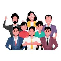 Group of business people showing teamwork vector