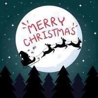 tarjeta de felicitación azul oscuro con texto de feliz navidad, santa claus, renos, luna y árbol de navidad vector