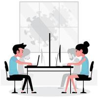 New normal at work features people on computer while have a partition place between them