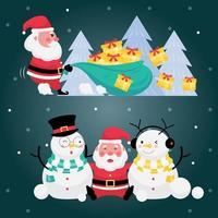 Set of santa claus with gift box, christmas tree and snowman on dark blue background vector