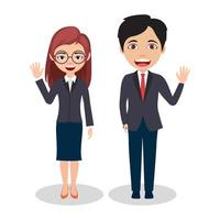 Couple Businessman and Businesswoman Characters Wearing Business Outfits and Waving vector