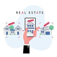 Hand holding mobile phone to search for a property or house for sale vector